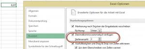 Dezimalkomma automatisch einfügen - bitte nicht einschalten!