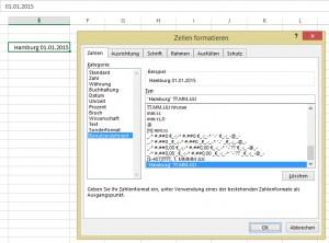 ... oder mit einem benutzerdefinierten Datumsformat (Zahlenformat)