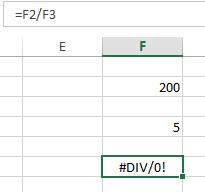 #DIV/0 - meist wurde eine falsche Zelle ausgewählt.