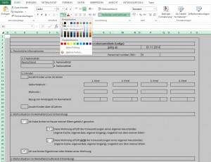 Excel unterscheidet zwischen weißer Hintergrundfarbe und keiner Hintergrundfarbe.