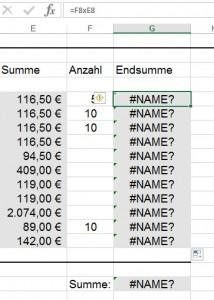 Excel multipliziert nicht.