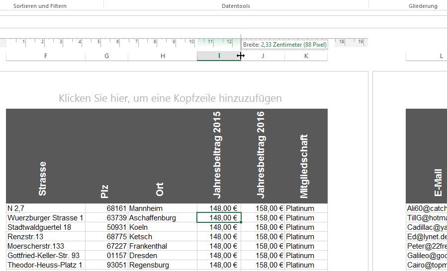Spaltenbreite | Excel nervt ...