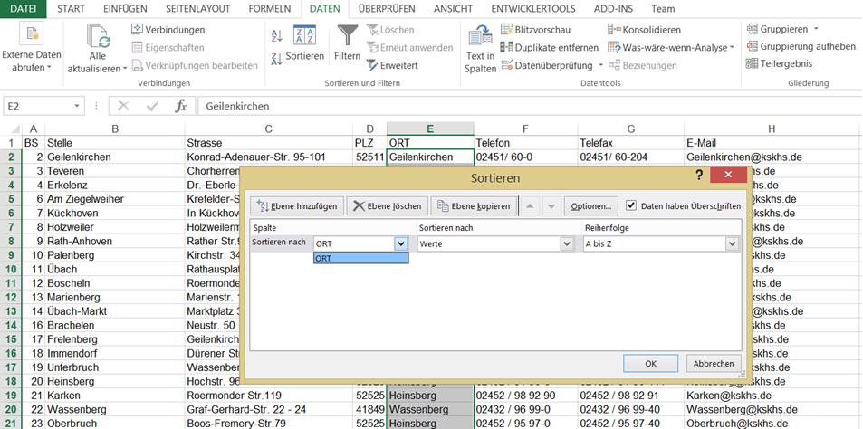 sortieren | Excel nervt ...