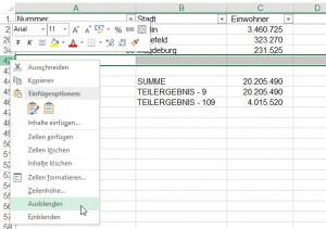 Beim Ausblenden von Zeilen wird der Unterschied zwischen 9 und 109 beim TEILERGEBNIS deutlich.