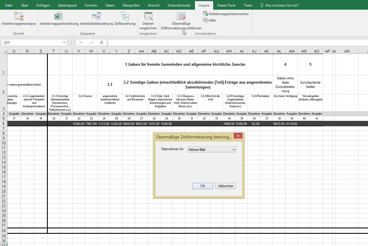 Übermäßige Zellformatierung entfernen | Excel nervt ...
