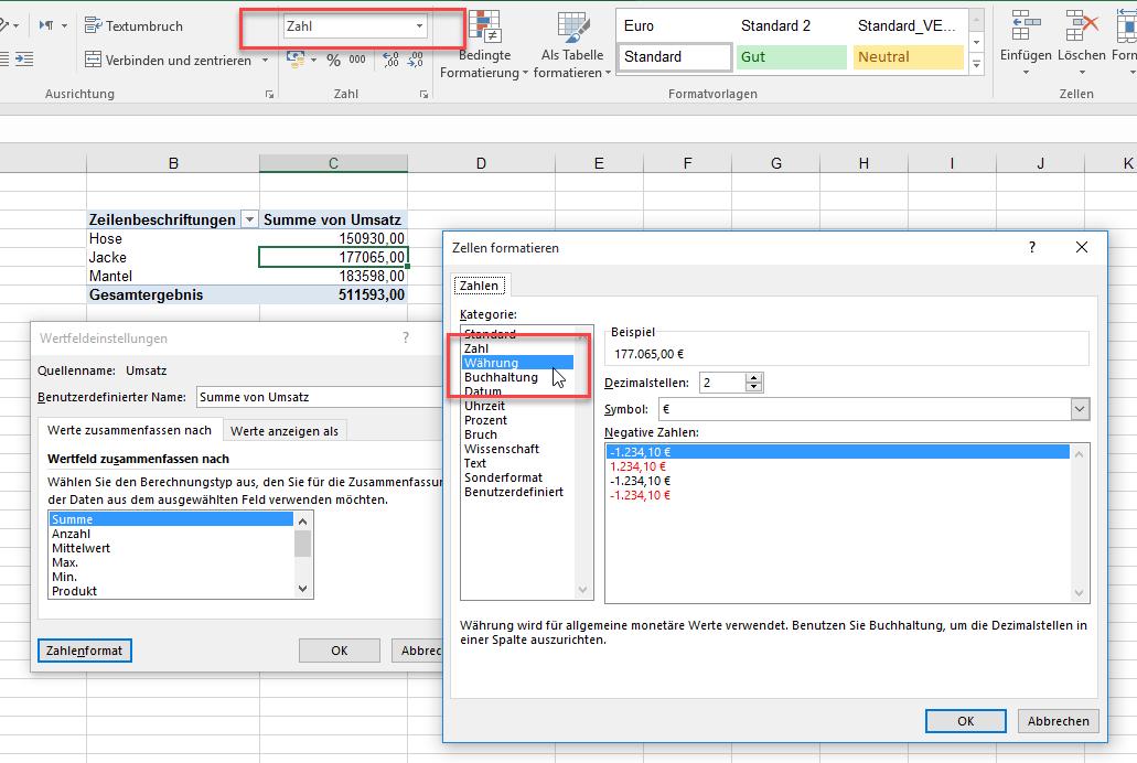 Zahlenformat | Excel nervt ...