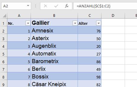 Excel Zähler