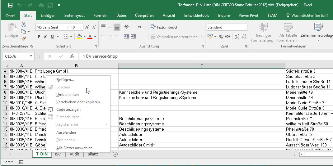 löschen | Excel nervt ...