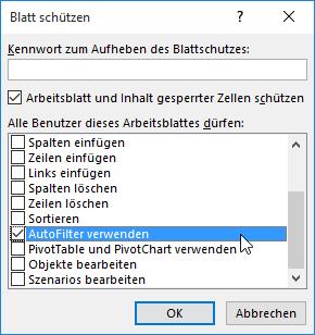 Blattschutz, Datenschnitt | Excel nervt ...
