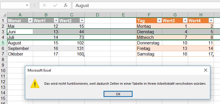 in Ihrem Arbeitsblatt verschoben | Excel nervt ...